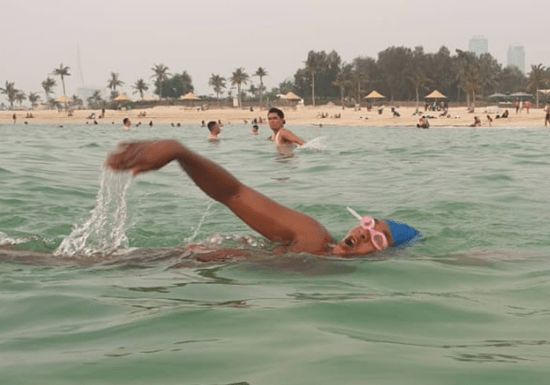 Private Swimming Classes at the Sea with a Female Instructor