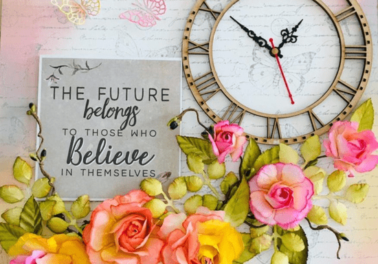 Wall Clock with Handmade Paper Flowers