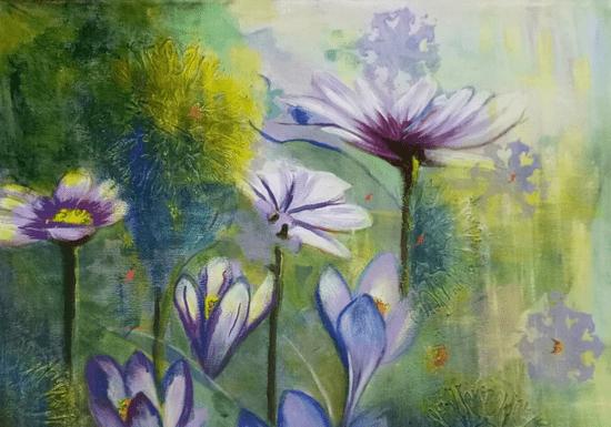 Watercolors, Acrylic colors & Single Stroke Art Class