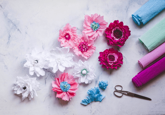Make Flowers with Crepe or Tissue Paper